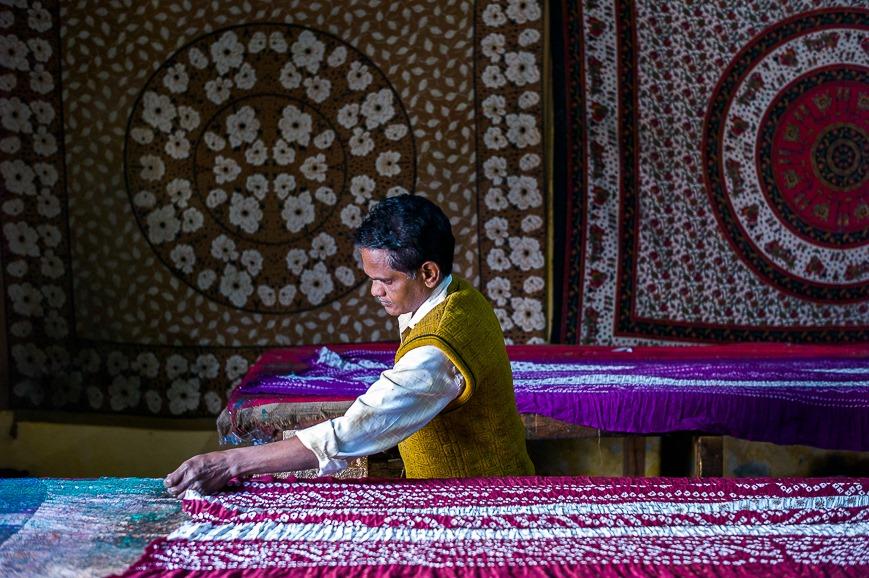 Hand printing sarees